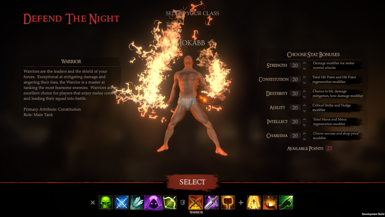 defend the night character creation screenshot